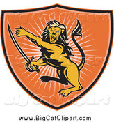 Big Cat Vector Clipart of a Orange Lion Shield and Rays by Patrimonio