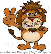 Big Cat Vector Clipart of a Peaceful Brown Lion Smiling and Gesturing the Peace Sign by Dennis Holmes Designs