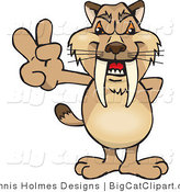 Big Cat Vector Clipart of a Peaceful Brown Sabertooth Tiger Smiling and Gesturing the Peace Sign by Dennis Holmes Designs