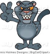 Big Cat Vector Clipart of a Peaceful Panther Grinning and Gesturing the Peace Sign by Dennis Holmes Designs
