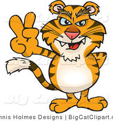 Big Cat Vector Clipart of a Peaceful Saber Tooth Tiger Smiling and Gesturing the Peace Sign by Dennis Holmes Designs