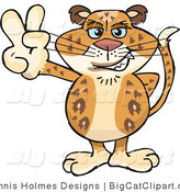 Big Cat Vector Clipart of a Peaceful Spotted Leopard Smiling and Gesturing the Peace Sign by Dennis Holmes Designs