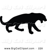 Big Cat Vector Clipart of a Profiled Black Leopard Silhouette Facing Right by JR