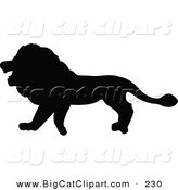 Big Cat Vector Clipart of a Profiled Black Lion Silhouette Walking Left by JR