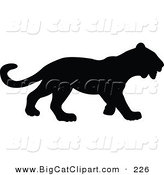 Big Cat Vector Clipart of a Profiled Black Panther Silhouetted and Facing Right by JR