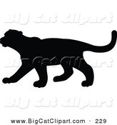 Big Cat Vector Clipart of a Profiled Black Puma Silhouette Walking Left by JR