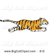 Big Cat Vector Clipart of a Profiled Hasty Running Tiger by Dennis Holmes Designs