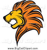 Big Cat Vector Clipart of a Profiled Lion Head by Vector Tradition SM