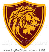 Big Cat Vector Clipart of a Profiled Male Lion Shield Badge by Chromaco
