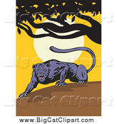 Big Cat Vector Clipart of a Prowling Black Jaguar Ready to Pounce at Sunset by Patrimonio