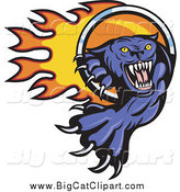 Big Cat Vector Clipart of a Purple Panther Pawing Through a Fire Ring Logo by Patrimonio