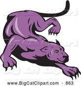 Big Cat Vector Clipart of a Purple Panther Stalking by Patrimonio