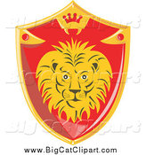 Big Cat Vector Clipart of a Red and Gold Lion Shield by Patrimonio