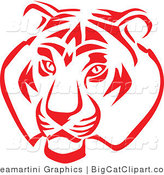 Big Cat Vector Clipart of a Red and White Tiger Face by Vector Tradition SM