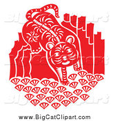 Big Cat Vector Clipart of a Red and White Tiger Papercut Design by Cherie Reve