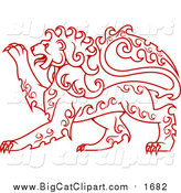 Big Cat Vector Clipart of a Red Curly Haired Heraldic Lion by Vector Tradition SM