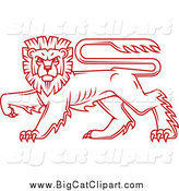 Big Cat Vector Clipart of a Red Heraldic Lion by Vector Tradition SM