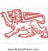 Big Cat Vector Clipart of a Red Heraldic Lion in Profile by Vector Tradition SM