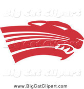 Big Cat Vector Clipart of a Red Panther Cougar or Jaguar Head by Johnny Sajem