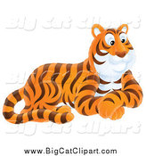 Big Cat Vector Clipart of a Resting Happy Tiger by Alex Bannykh
