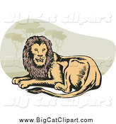 Big Cat Vector Clipart of a Resting Lion by Patrimonio