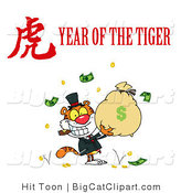 Big Cat Vector Clipart of a Rich Tiger Holding a Bag Full of Money with a Year of the Tiger Chinese Symbol and Text by Hit Toon
