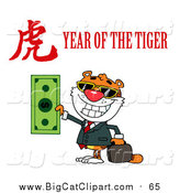 Big Cat Vector Clipart of a Rich Tiger Holding Cash with a Year of the Tiger Chinese Symbol and Text by Hit Toon