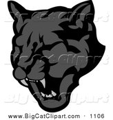Big Cat Vector Clipart of a Roaring Black Panther by Chromaco