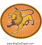 Big Cat Vector Clipart of a Roaring Lion in an Oval of Sun Rays by Patrimonio