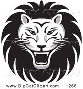 Big Cat Vector Clipart of a Roaring Male Lion Face by Lal Perera