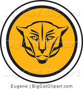 Big Cat Vector Clipart of a Round Cougar Icon by Eugene