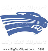 Big Cat Vector Clipart of a Royal Blue Panther Cougar or Jaguar Mascot Head Facing Right by Johnny Sajem