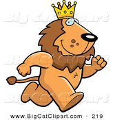 Big Cat Vector Clipart of a Running Brown King Lion Character Wearing a Crown by Cory Thoman