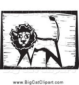 Big Cat Vector Clipart of a Safari Lion Woodcut by Xunantunich