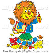 Big Cat Vector Clipart of a School Lion Walking in Autumn Leaves by Alex Bannykh