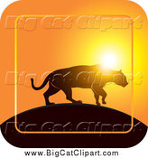Big Cat Vector Clipart of a Silhouetted Jaguar Walking on a Hill at Sunset Icon by Lal Perera
