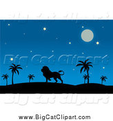 Big Cat Vector Clipart of a Silhouetted Male Lion in a Desert at Night by Pams Clipart
