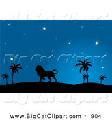Big Cat Vector Clipart of a Silhouetted Male Lion Walking in a Desert at Night by Pams Clipart