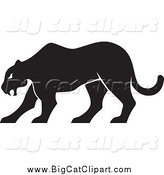 Big Cat Vector Clipart of a Silhouetted Panther Walking by Any Vector
