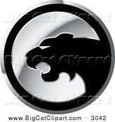 Big Cat Vector Clipart of a Silver and Black Round Cheetah Icon by Lal Perera