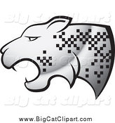 Big Cat Vector Clipart of a Silver Cheetah with Pixelated Spots by Lal Perera