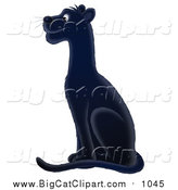 Big Cat Vector Clipart of a Sitting Black Panther Facing Left by Alex Bannykh