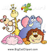Big Cat Vector Clipart of a Smiling Group of Zoo Animals over a Sign by Hit Toon
