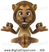 Big Cat Vector Clipart of a Smiling Lion Character Meditating by Julos