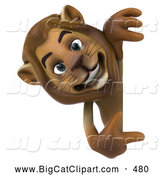 Big Cat Vector Clipart of a Smiling Lion Character Pointing to and Looking Around a Blank Sign by Julos
