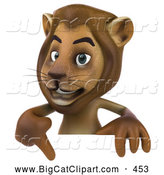 Big Cat Vector Clipart of a Smiling Lion Character Pointing to and Standing Behind a Blank Sign by Julos