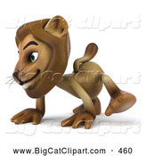 Big Cat Vector Clipart of a Smiling Lion Character Walking on All Fours by Julos