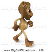 Big Cat Vector Clipart of a Smiling Lion Character Walking to the Right by Julos