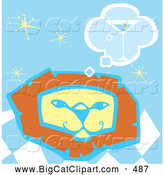 Big Cat Vector Clipart of a Smiling Lion Thinking of a Martini over a Blue Starry Background by Xunantunich