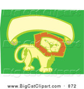 Big Cat Vector Clipart of a Smiling Lion with Blank Banner - Green, Yellow, Orange Colors by Xunantunich